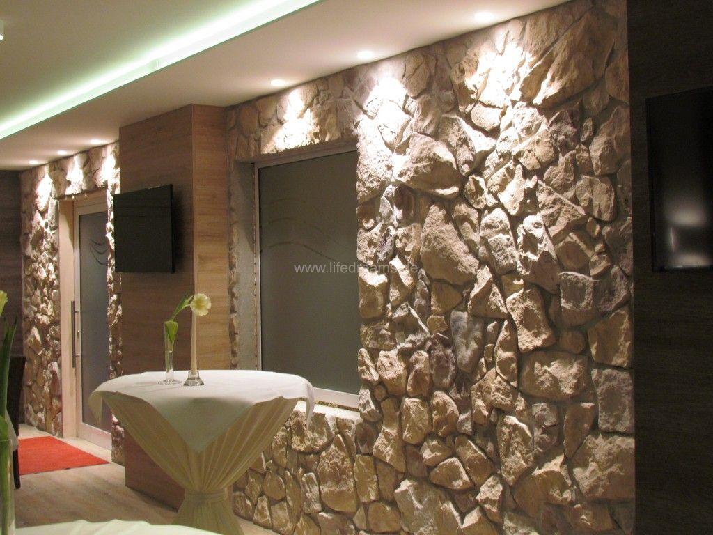 Wohnzimmer steinwand kamin: steinwand florina piestone. kaminofen ...