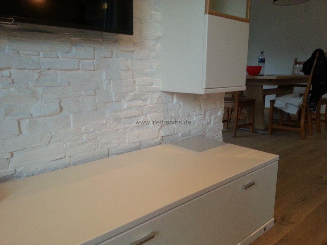 wohnzimmerwand weiß:Kunststeinpaneele Bari – Paneele in der Optik von Steinwänden mit